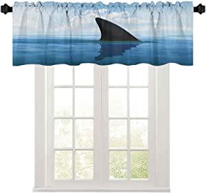 Light-Filtering Curtain Valance, Shark Fish Fin Over The Sea Surface Danger Caution Themed Picture, 50