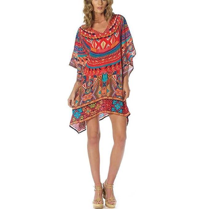 c125e89117427 ChowDon Womens Summer Bikini Cover-up Exotic Retro Ethnic Totem Pattern  Seersucker Loose V Neck