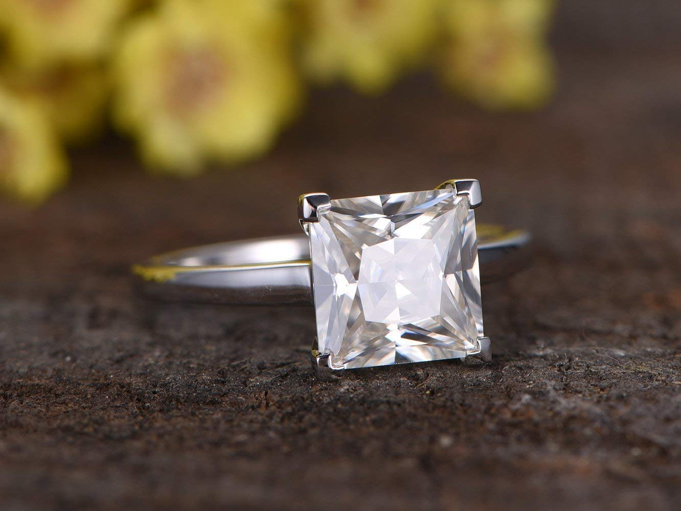 Square Wedding Ring Promise Ring For Her 1.5 Carat Princess Cut Engagement Ring 14K Solid White Gold Ring Proposal Ring Anniversary Ring