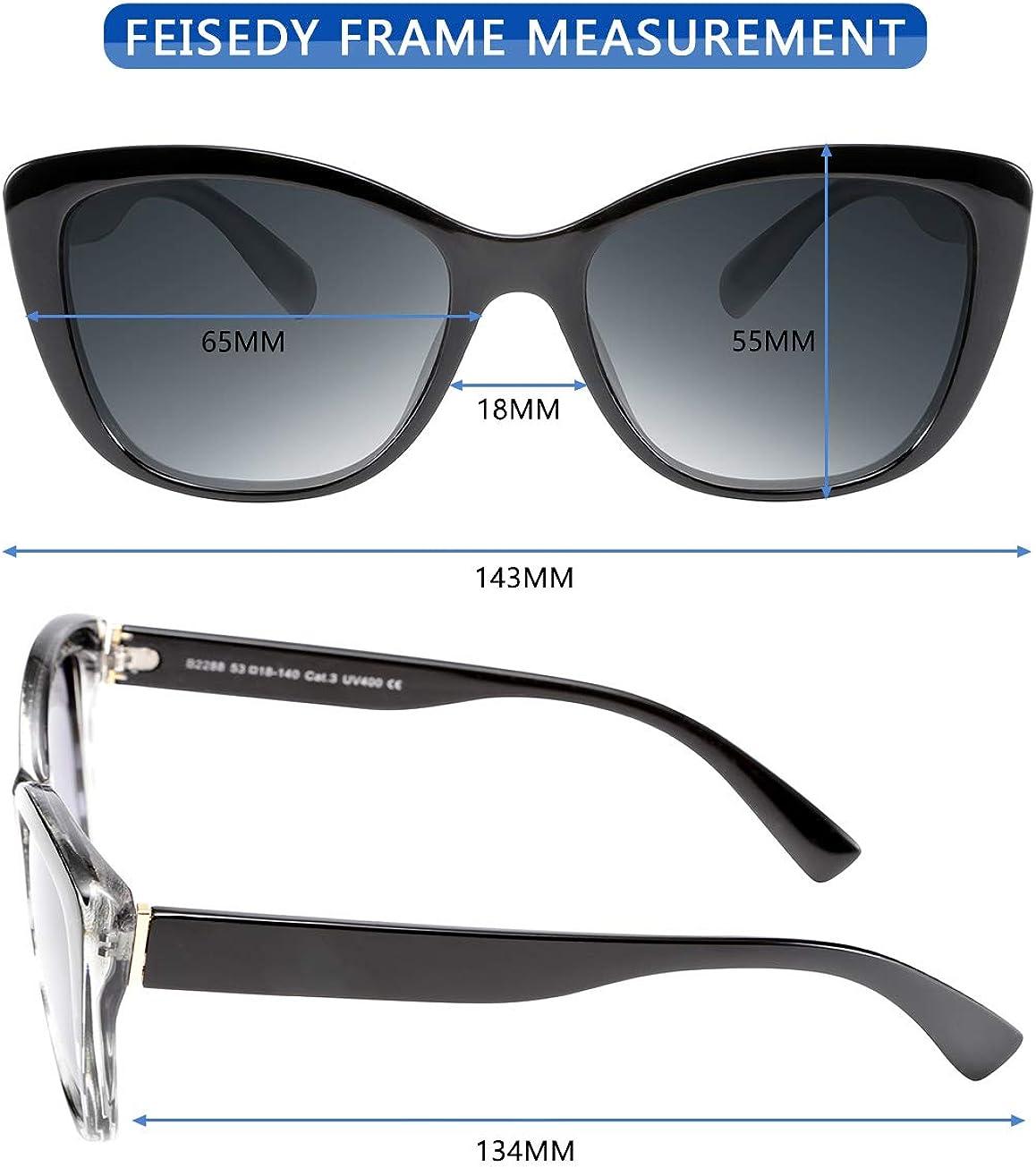 FEISEDY Polarized Vintage Sunglasses American Square Jackie O Cat Eye Sunglasses B2451