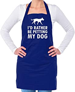 Dressdown I'd Rather Be Petting My Dog - Unisex Adult Kitchen/BBQ Apron - Royal Blue - One Size