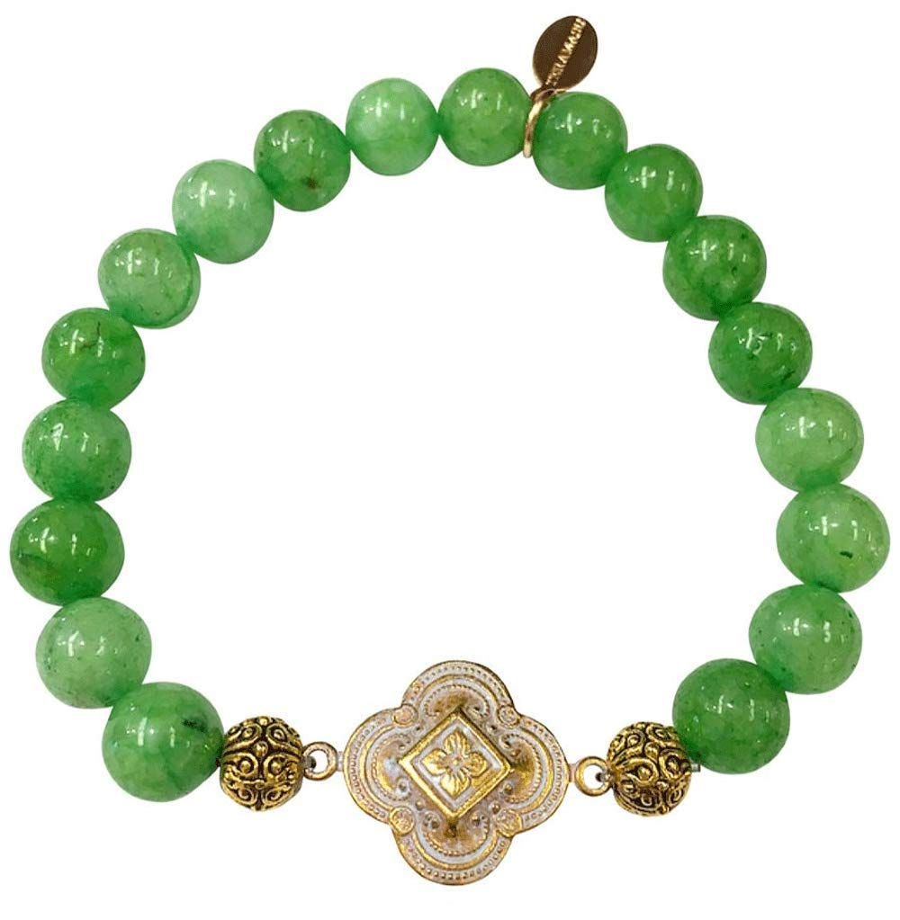 Teramasu The Gratitude Bracelet Handmade Mindful Meaningful Motivational Grateful Blessed in Emerald Kelly Green Agate by Teramasu