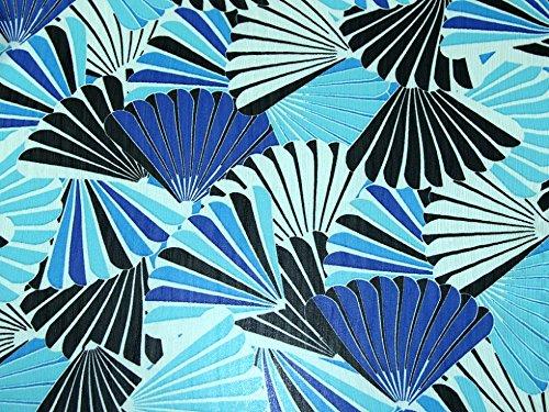 Crinkle Shell - Shells Print Yoryu Crinkle Chiffon Dress Fabric Blue & Turquoise - per metre
