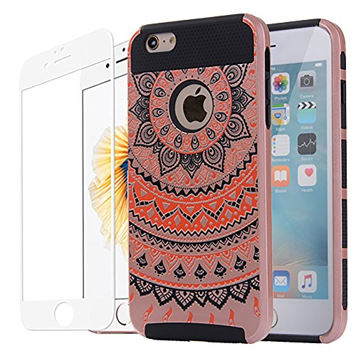 iPhone 6s Plus Case, iPhone 6 Plus Cases, Vecr Armor Dual Layer Shock Absorption Hard Back Cover with Full Coverage Tempered Glass For Apple iPhone 6 6s Plus 5.5 inch (Rose Gold - Black)