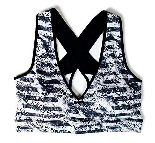 Nfinity Sports Bra Black/Gray Striped - L