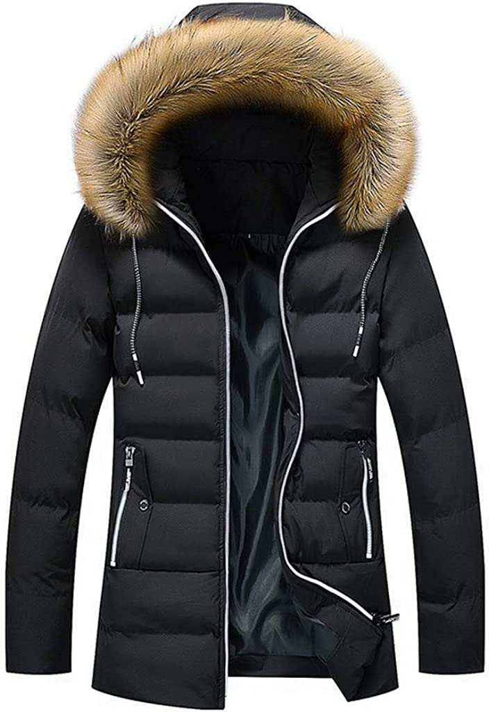 TIANMI Mens Solid Color Hoodie Thickened Winter Warm Jacket Mid-Length Fashion Cotton-Padded Coat Overcoat