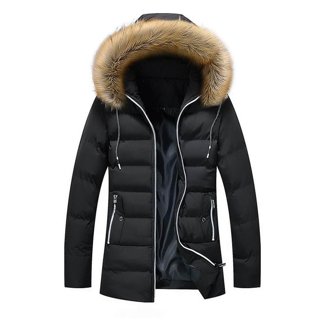 〓COOlCCI〓Men Down Jackets & Coats,Winter Hooded Frost-Fighter Sherpa Lined Midi Packable Parka Thick Jackets Outwear Black by COOlCCI_Womens Clothing