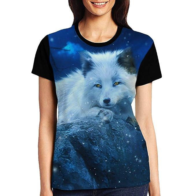 Women s Raglan Top Tee Winter White Fox Summer Casual T Shirts at ... 061e53ebc