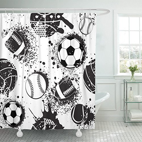 Emvency Shower Curtain Abstract for Boys Football Pattern Sport Urban with Ball Black and White Colors Dark Grunge Repeated Waterproof Polyester Fabric 72 x 72 inches Set with Hooks