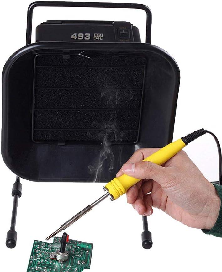 BAOSHISHAN Mini Extractor de Humo de Hierro de Soldadura Absorbente de Humo ESD con Esponja de Filtro de Carbón Activo Libre para Soldadura de Trabajo 110V / 220V (con 1pcs esponja)