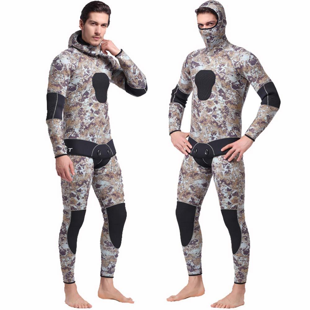 メンズダイビングスーツ、ワンピース長袖5ミリメートルダイビングスーツツーピースシャムシュノーケリングスーツ男性用 B07PJV9FHX  Large