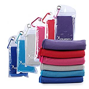 """Cooling Towel for Instant Relief - Cool Bowling Fitness Yoga Towels - 40""""x12"""" Use as Cooling Neck Headband Bandana Scarf,Stay Cool for Travel Camping Golf Football &Outdoor Sports - Syourself ( Red )"""