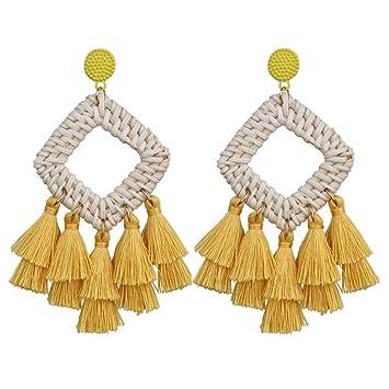 Women Fashion Woolen Long Tassel Dangle Bohemian Fringe Drop Earrings
