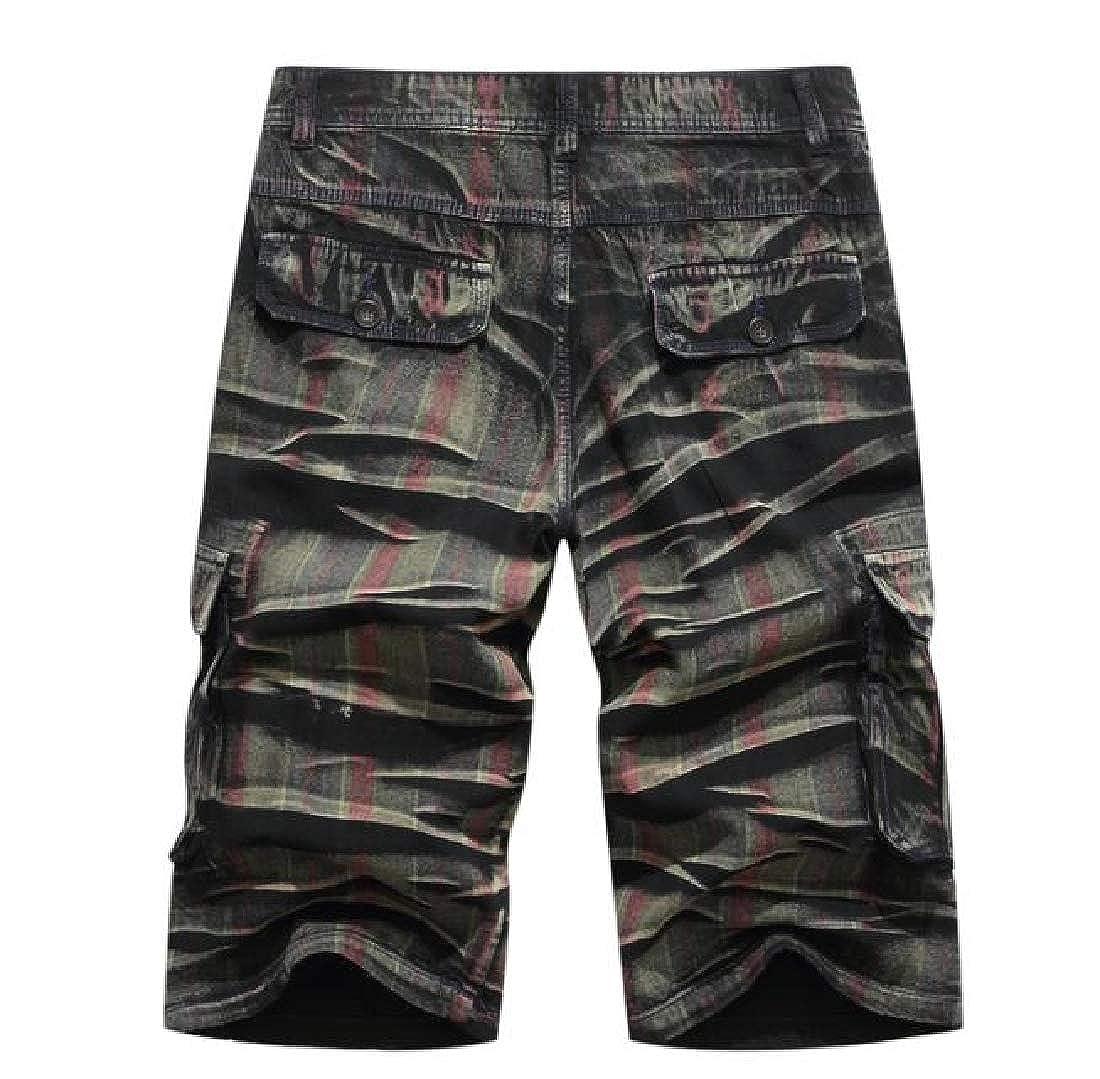 Sebaby Mens Cotton Multi Pockets Camouflage Color Tactical Combat Pants