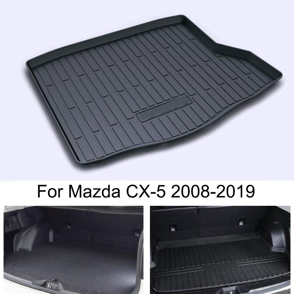 Momoap//Black Leather Car Boot Pad Liner Cargo Mat Tray Trunk Floor Protector Mat for Mazda CX-5 2008-2019