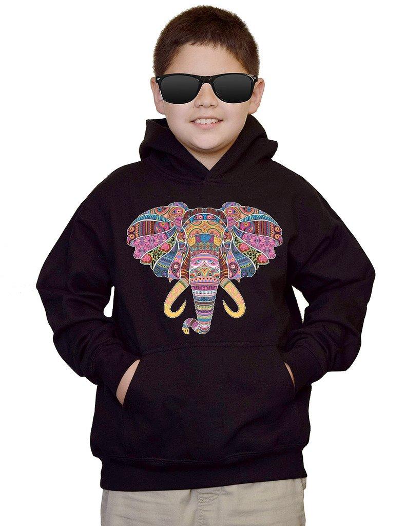 Youth Mosaic Tribal Elephant Black kids Sweatshirt Hoodie XLarge