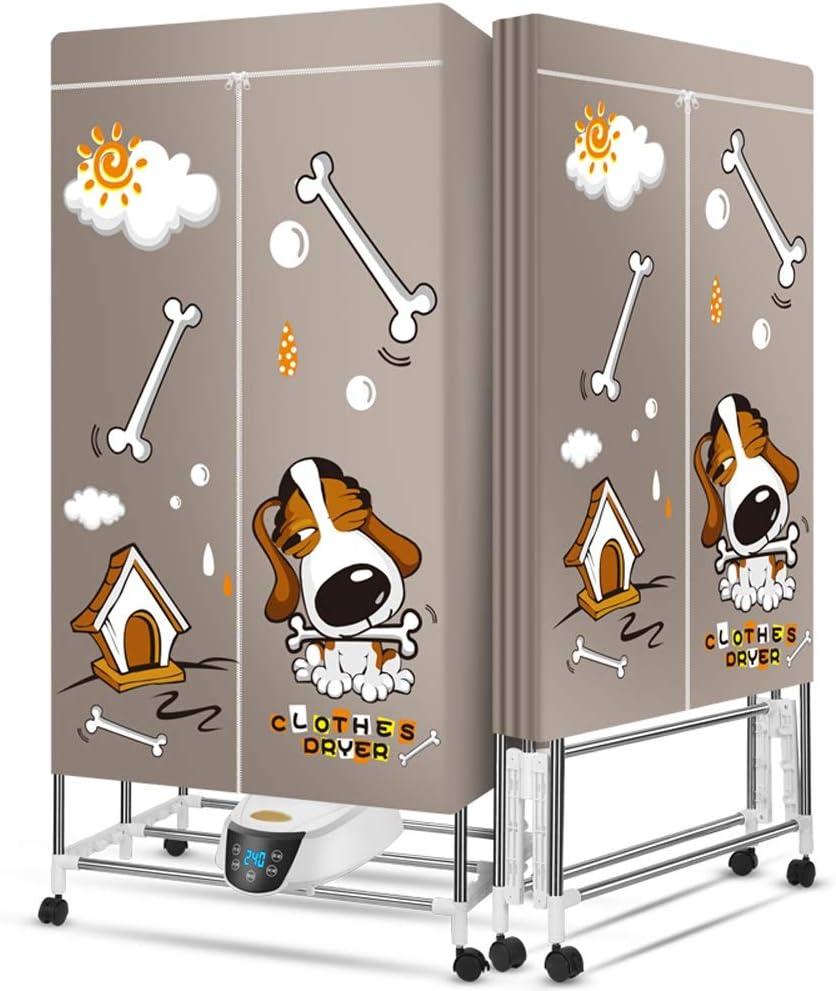 Secadora De Ropa|Secadora Capa Lavadora Secadora portátil Lavadora 2300W Acero Inoxidable Percha Plegable Doble termostato Inteligente Impermeable de Control Remoto a Prueba de Fuego