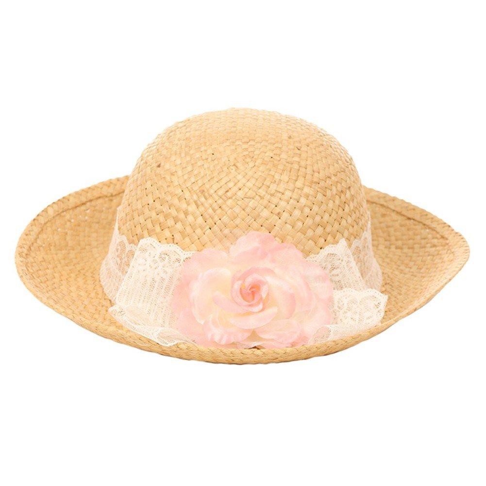 Kid's Dream Girls Straw Pink Detachable Flower Lace Trendy Summer Hat 20''