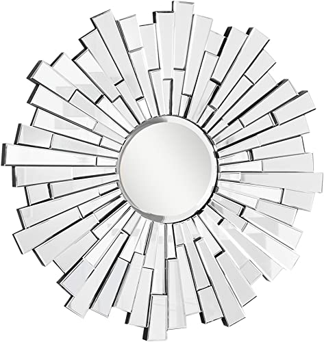 Decor Central Contemporary Round Mirror With Miff Frame, 47.5 , Clear Finish