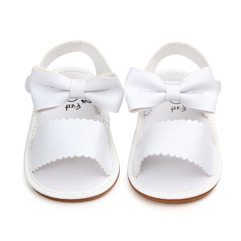 Polwerbaby Girl Sandals Flats Non-Slip Infant First Walkers Bowknot Princess Dress Summer Shoes