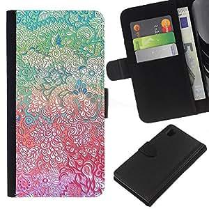 EJOY---La carpeta del tirón la caja de cuero de alta calidad de la PU Caso protector / Sony Xperia Z1 L39 / --Flores Bellas Pretty Girl detallada