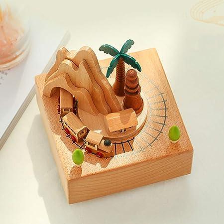 Happyshop 18 Caja de música de Madera, Mecanismo de Cuerda de Haya Tren Musical de Madera Caja giratoria con túnel de montaña para la decoración de artesanías caseras: Amazon.es: Hogar
