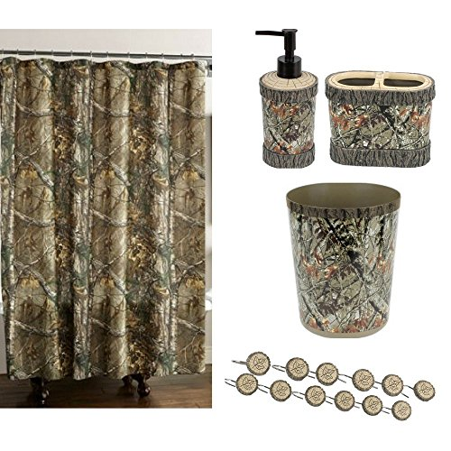 Camouflage Lodge Bathroom/Shower Decor Accessories Set Of 5 W Fabric Camo Shower Curtain 70 x 72 W Hooks, Green Plastic Wastebasket,Toothbrush Holder, Decorative Soap Lotion Pump Bundle