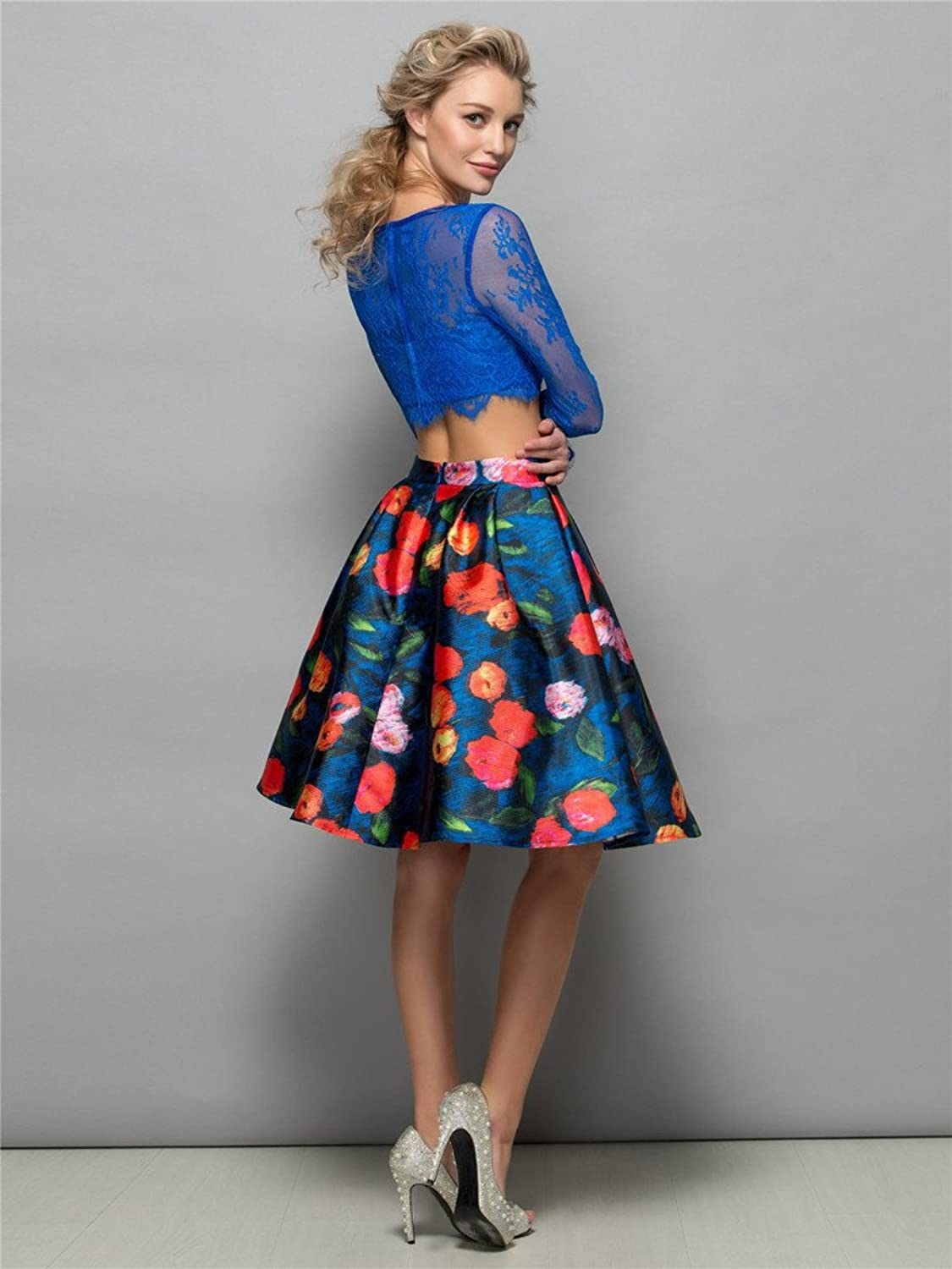 CLOCOLOR Girl's A-line Two Piece Print Cocktail Dress Long Sleeves