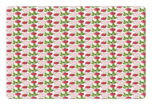 Ambesonne Vegetable Pet Mat for Food and Water, Fresh Product Farmers Market Theme Cartoon Radish Pattern, Rectangle Non-Slip Rubber Mat for Dogs and Cats, Fern Green Dark Coral Pale Pink