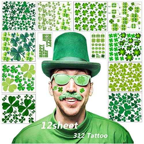 Shamrock Tattoos,12 Sheets Four Leaf Clover Temporary Tattoos Stickers for St. Patrick's Day and Clover Themed Party (Green) from Dream Loom