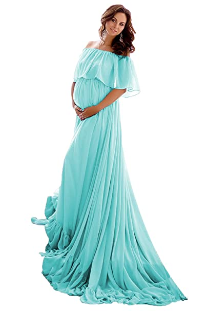 complimentary shipping forefront of the times detailing SDRESS Women's Off Shoulder Maternity Gown Photography Dress Chiffon Maxi  Pregnant Prom Dress with Train