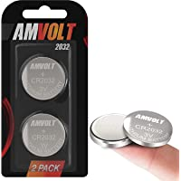 2 Pack AmVolt CR2032 Battery 220mAh 3 Volt Lithium Battery Coin Button Cell 2023 Expiry Date