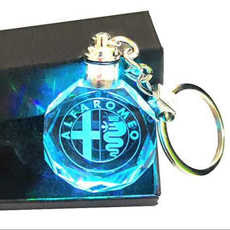 VILLSION Upgradetion LED Car Keychain Logo Keyring Accessories Auto Key Chain Gift with Box Color Changing Crystal Light