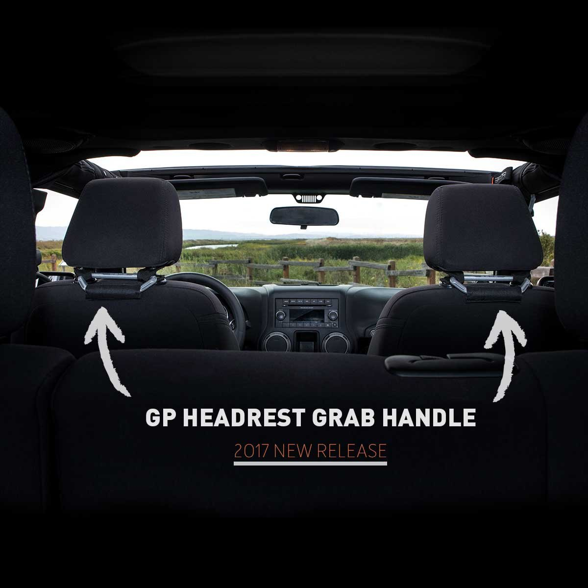 GPBG-JK-BLK GPCA Headrest Grab Handles for Jeep Wrangler JK//JKU and Cars with headrest Poles GP-Back-Grip for 4X4 Off-Road Backseat Passengers - D1//2 or 12mm Metallic