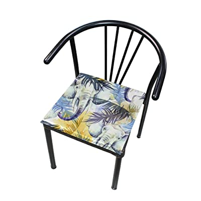 Bardic FICOO Home Patio Chair Cushion Tropical Leaf Watercolor Elephant Square Cushion Non-Slip Memory Foam Outdoor Seat Cushion, 16x16 Inch: Home & Kitchen