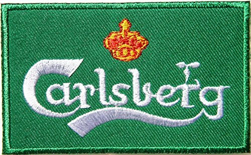 Carlsberg Beer Cap Logo Jacket Patches Sew Iron on Embroidered (International Beer Shipping)
