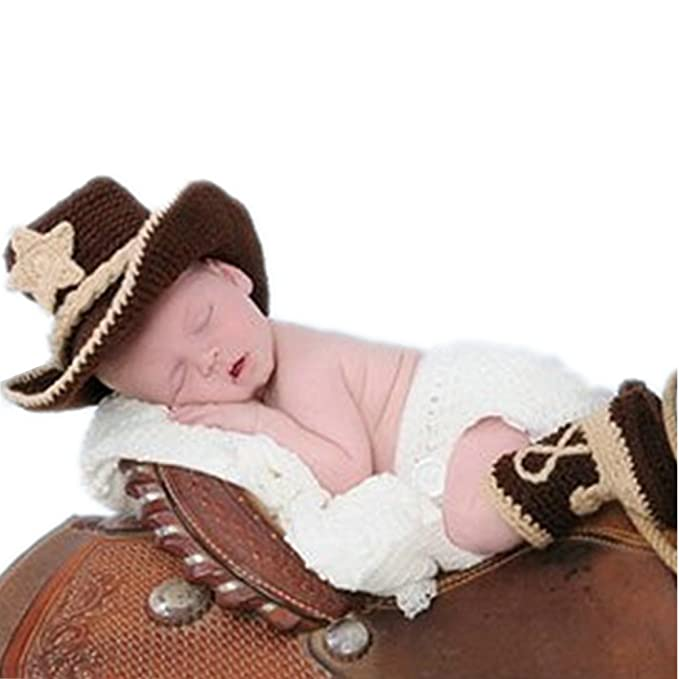 c3bd8b0d961 Amazon.com  Vemonllas Fashion Newborn Baby Photography Props Outfits Boy  Girl Costume Cowboy Hat Shorts Boots Coffee  Clothing