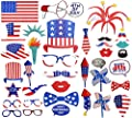 36 Ct Fourth of July Photo Booth Props - 4th of July Patriotic Red White Blue Party Supplies Decorations by Moon Boat