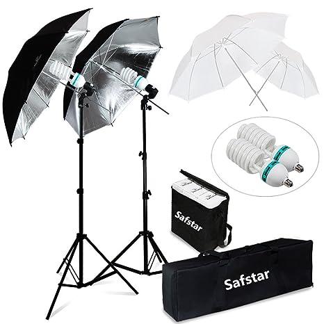 Safstar Photography Umbrella Lighting Kit Photo Portrait Studio Lighting  Diffuser with Light Stand and LED Lamp Set of 2
