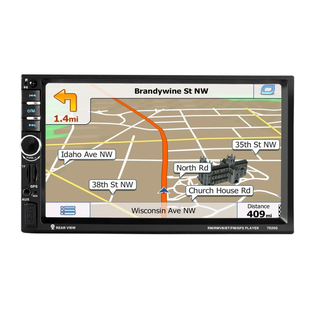 Iuhan New 7'' HD Bluetooth Touch Screen Car GPS Stereo Radio 2 DIN FM/MP5/MP3/USB/AUX