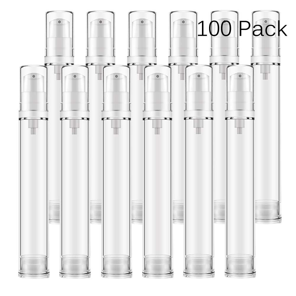 DLIBUY (Pack of 100) 15ML Empty Refillable Dispensers Clear Plastic Vacuum Lotion Bottles-Airless Containers For Lotion Foundation Essential Oil Moisturizer Gel Mask Cleanser Cream-White Pump