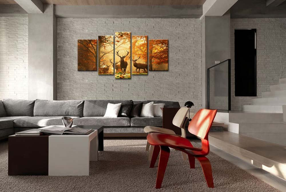 Amazon.com: Brown 5 Panel Wall Art Painting Deer In Autumn Forest Pictures  Prints On Canvas Animal The Picture Decor Oil For Home Modern Decoration  Print: ...