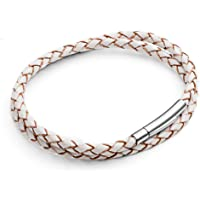 Tribal Steel 2-Wrap Leather & Stainless Steel Unisex Bracelet