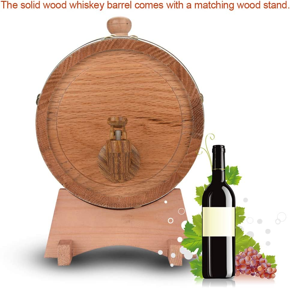 Barril de vino de roble dispensador de barril de vino de madera de roble vintage para puerto de ron de whisky de cerveza 1.5L