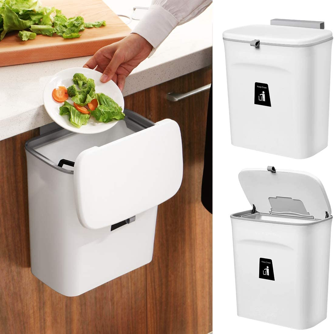 2.4 Gallon Hanging Kitchen Compost Bin for Counter Top or Under Sink, Wall-Mounted Counter Small Trash Can with Lid for Cupboard,Bedroom,Office,Camping.Mountable Indoor Compost Bucket (White)