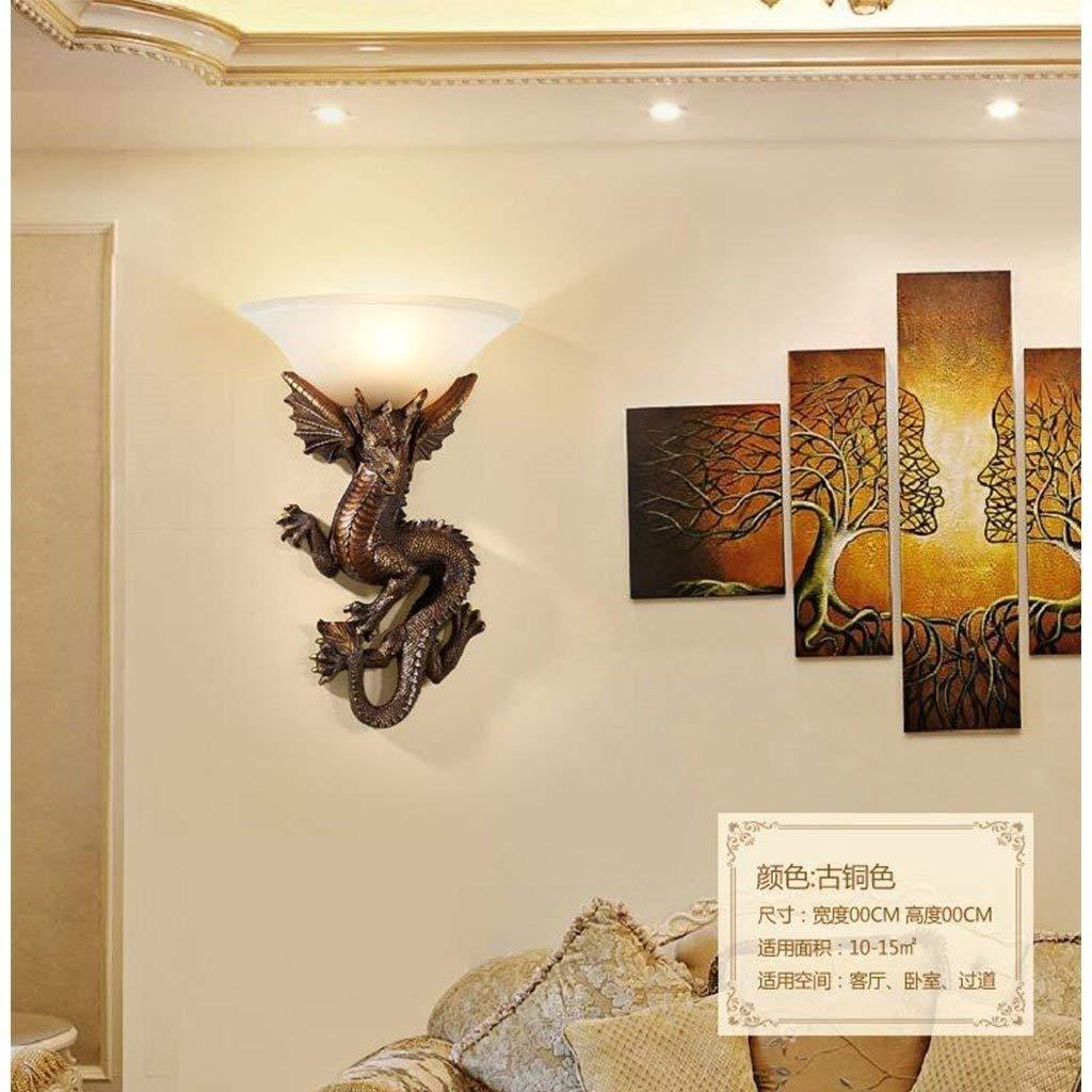 Lámpara de pared de dragón chino