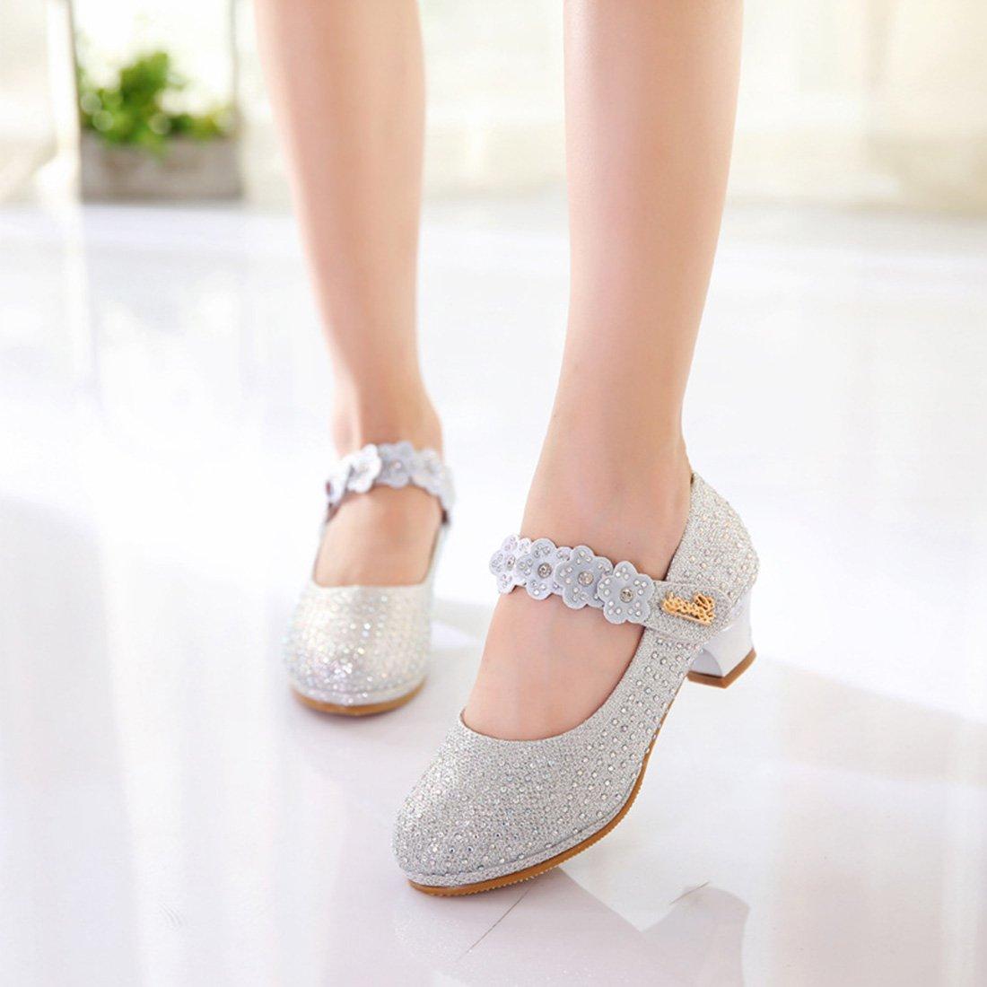 YIBLBOX Little girls Princess Dress Shoe Low Heel Wedding Party Dance Shoes Mary Jane