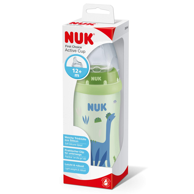 NUK Active Cup Trinklernflasche 12+ Monate auslaufsicher gr/ün mit Clip BPA-frei mit Soft-Trinkt/ülle aus Silikon Dino 300ml