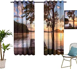 Mozenou Seascape,Doorway Curtains,Shore of Seventh Lake Tree Sunbeam at Sunset Water Reflection Tranquility,Isolate Sunlight Dark Curtains,52x63 Inch Brown Peach Blue