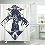 Emvency 72''x78'' Shower Curtain Waterproof Ufo Tattoo And Invasion Of Aliens Kidnap Human Mystical Symbol Paranormal Phenomena Home Decor Polyester Fabric Adjustable Hook